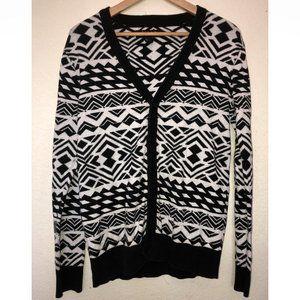 Geometric Tribal Pattern Cardigan (Black/White)